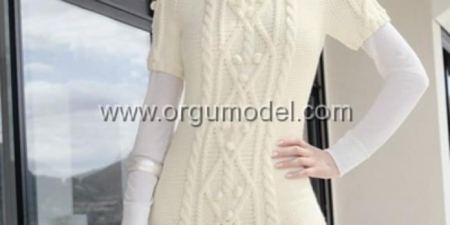 Beyaz örgülü bayan tuniği modelleri