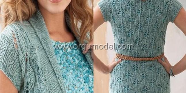Yapraklı ve ajurlu kısa kol örgü bayan tunik modelleri