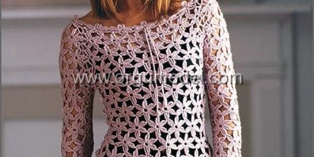 Çiçek Modelli Örgü Bluz Modeli