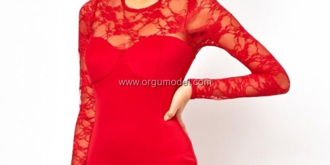 Kırmızı Dantelli Abiye Modelleri