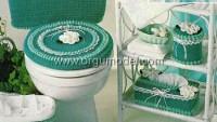 Güllü Yeşil Örgü Banyo Takımı