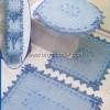 Mavi Dantel Banyo Takımı