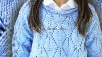 Ajurlarla Baklava Desenli Çocuk Kazak Modeli