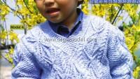 Pirinç Örgü Baklava Desenli Çocuk Kazak Modeli